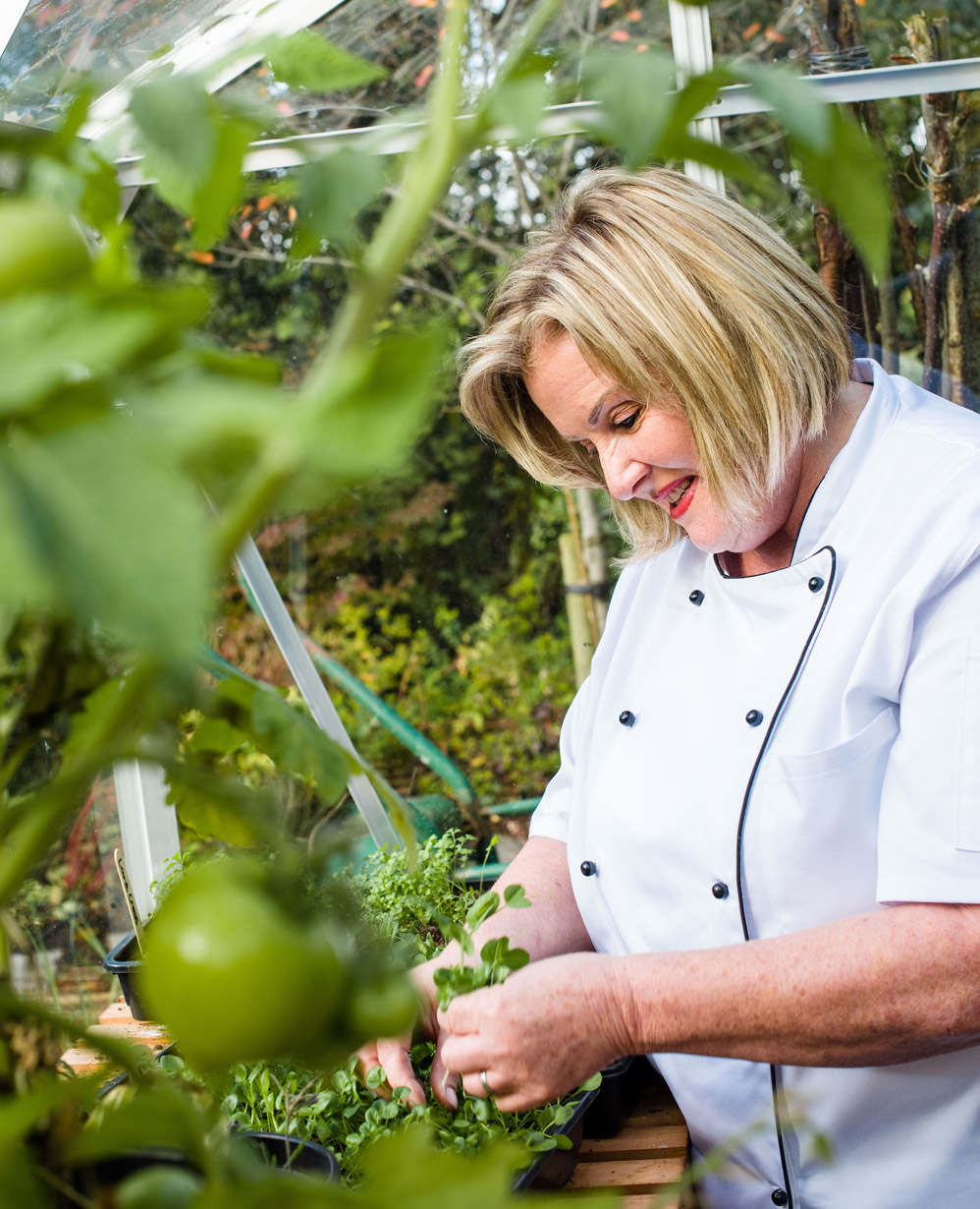Joyce with Homegrown peas, Blackwell Country House
